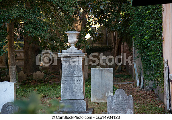 Grave stones from old church - csp14934128
