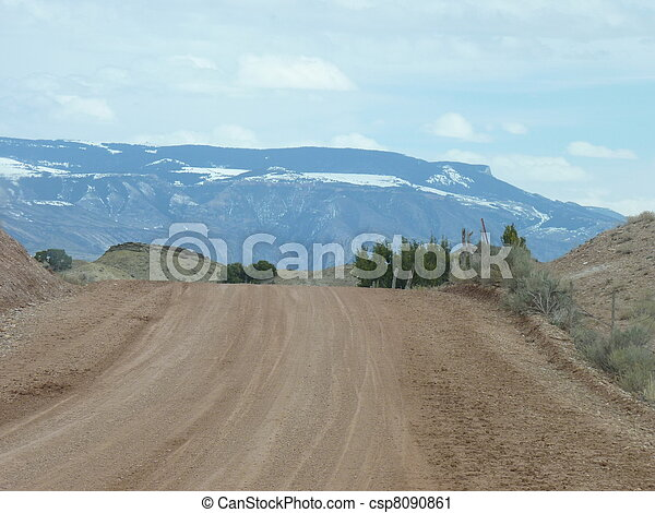 Gravel Road in the Desert - csp8090861