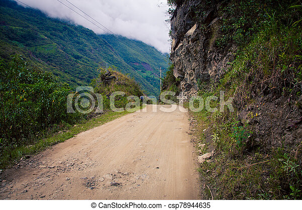 Gravel road in the mountains of Peru - csp78944635
