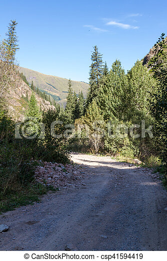 gravel road in the mountains - csp41594419