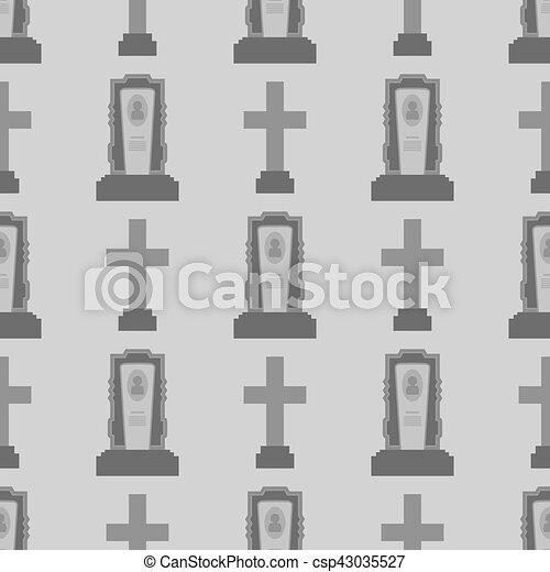 Gravestone Seamless Pattern. Stone Monuments - csp43035527