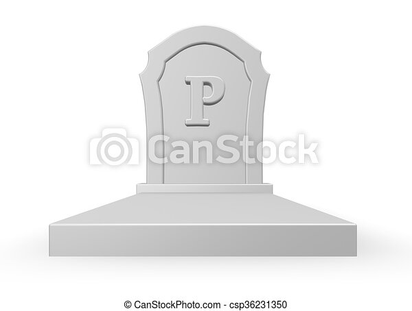 Gravestone With Letter P 3d Rendering Gravestone With Uppercase