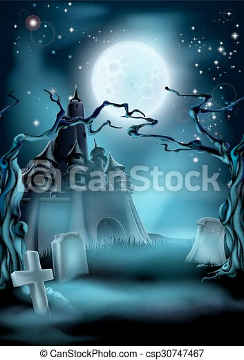 Graveyard and Castle Halloween Background - csp30747467