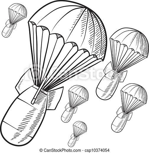 Gravity bombs sketch - csp10374054