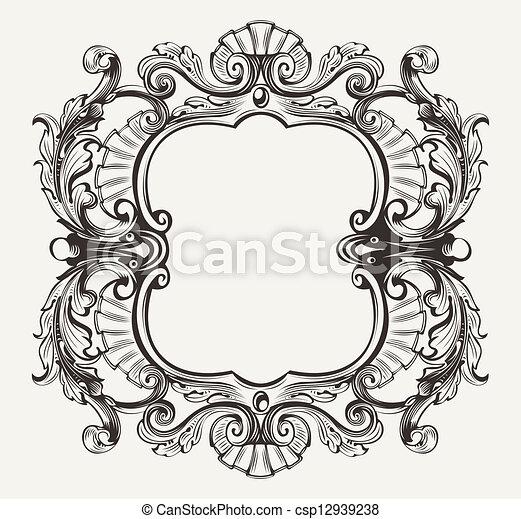 gravure, cadre, courbes, élégant, orné, baroque - csp12939238