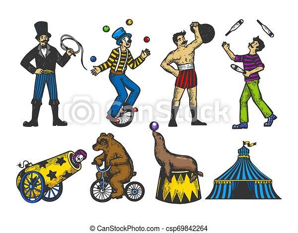 Gravure Croquis Ensemble Vieux Illustration Couleur Vendange Cirque Style Main Imitation Performance Vecteur Retro Humain Dessiné