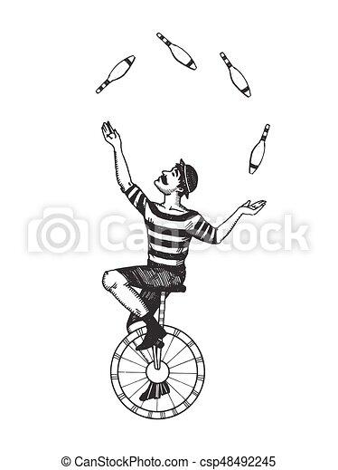 Gravure jongleur cirque vecteur jongleur style - Image jongleur cirque ...