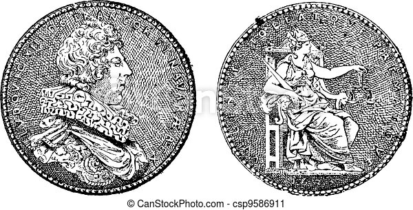 gravure, roi, vendange, projection, france, xiii, louis, médaille - csp9586911