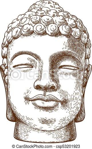 gravure, steen, hoofd, illustratie, boeddha, tekening. antieke