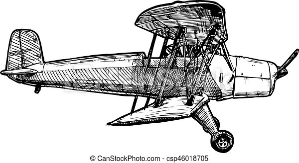 Gravure stylis avion vecteur dessin vendange isol illustration main arri re plan - Dessin avion stylise ...