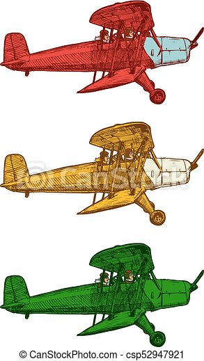 Gravure stylis avion vecteur dessin vue diff rent color biplans vendange blanc - Dessin avion stylise ...