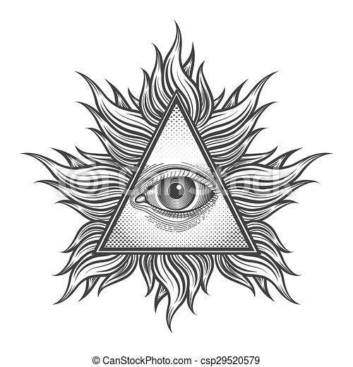gravure, voir, tout, pyramide, oeil, tatouage, symbole, style