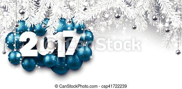 Gray 2017 New Year banner. - csp41722239