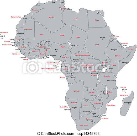 Gray Africa Map Africa Map With Countries And Capital Cities