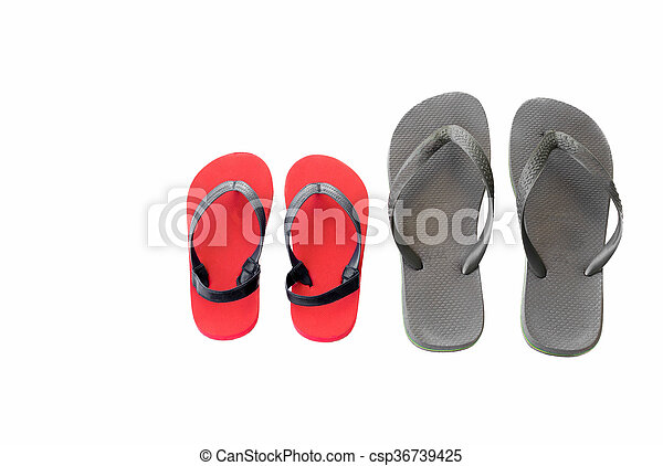e7cf7ed400a3 Gray and red beach sandals flip flops isolated on white background.