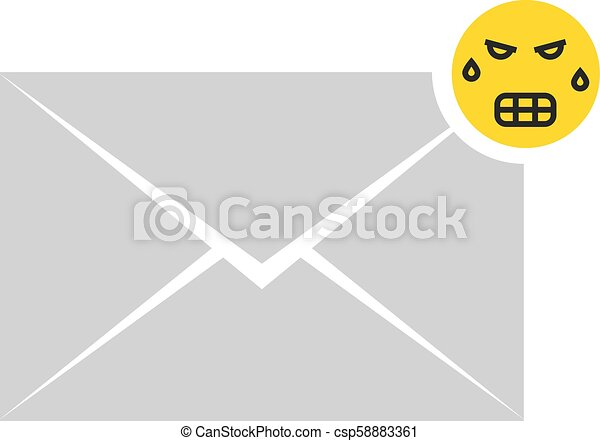 gray angry message letter icon with emoji