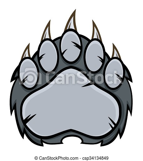 Gray Bear Paw With Claws - csp34134849