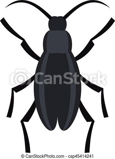 Gray beetle icon, flat style - csp45414241