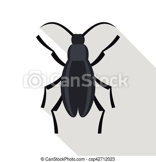 Gray Beetle Icon, Flat Style   Csp42712023