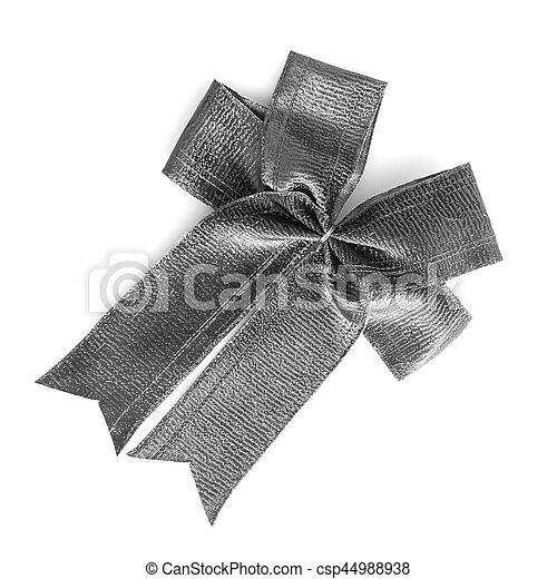 Gray bow on gray blackground - csp44988938