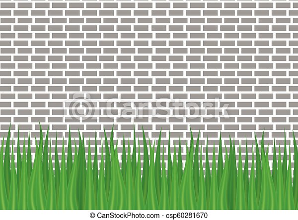 gray brick wall and green grass from below. - csp60281670