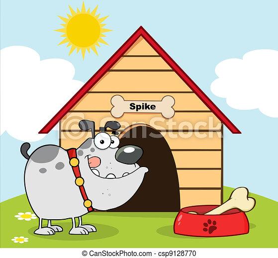 Gray Bulldog With Bowl And Bone - csp9128770