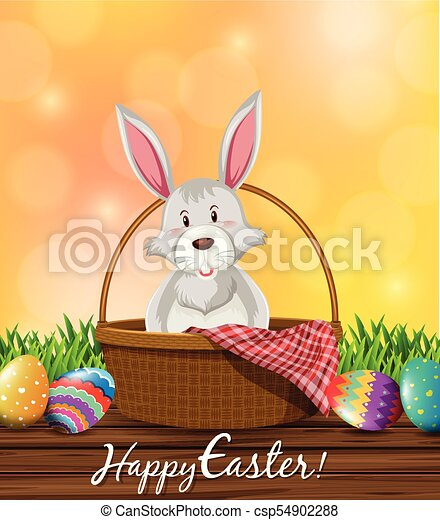 Gray Bunny And Decorated Eggs For Easter Illustration