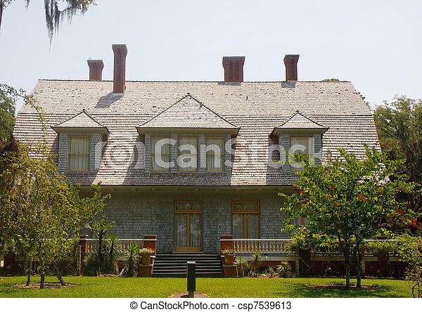 gray-cedar-shake-house-stock-photos_csp7539613 Grey Cedar Shake House Plans on one story, for siding,