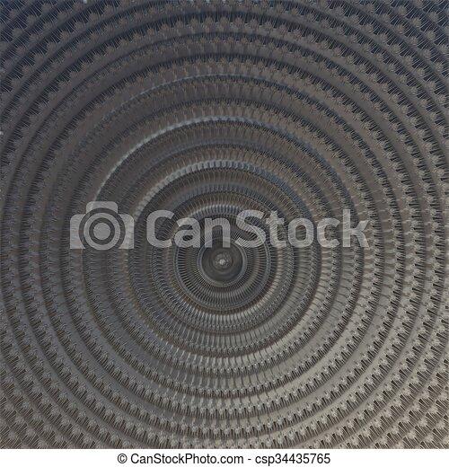Gray - circular 3d fractal - csp34435765