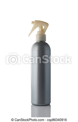 Gray color spray bottle isolated on white background. - csp86340916