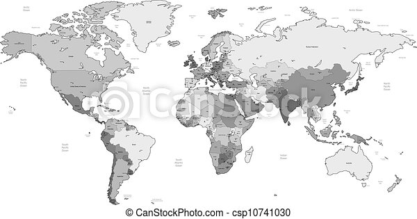 Gray Detailed World Map Detailed Vector World Map Of Gray Colors