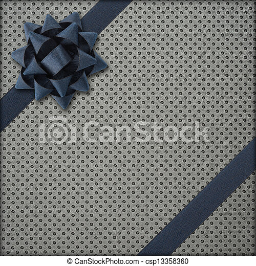 Gray gift with dark bow - csp13358360