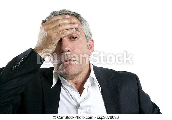 gray hair sad worried senior businessman expertise - csp3878036