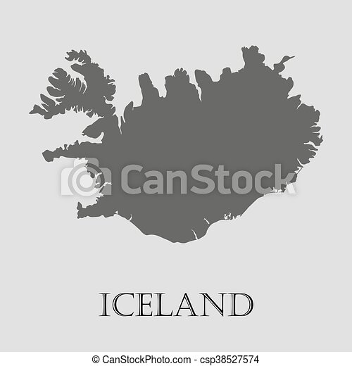 Gray iceland map on light grey background. gray iceland map - vector ...
