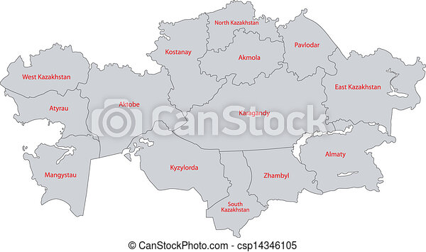 Gray kazakhstan map Administrative division of the republic