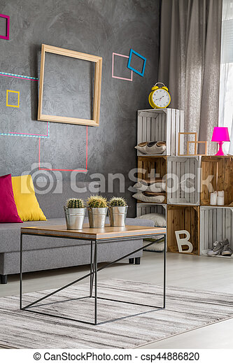 Gray living room with a place to rest - csp44886820