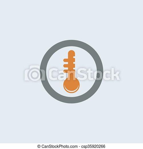 Gray-orange Thermometer Round Icon - csp35920266