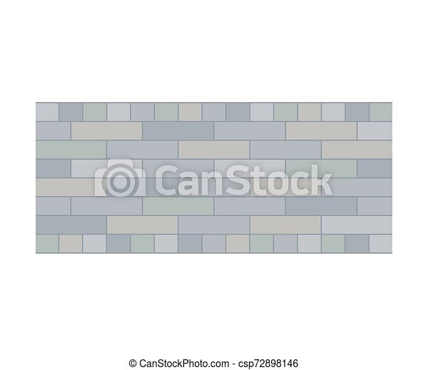 Gray path of bricks. View from above. Vector illustration on a white background. - csp72898146