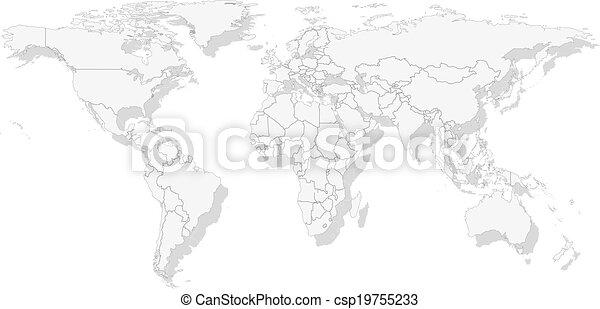 Gray political world map vector gray political world map light gray political world map vector gumiabroncs Image collections