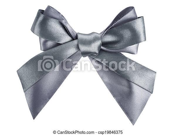 gray ribbon bow like a gift - csp19846375