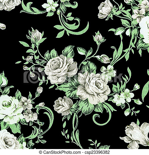 Gray rose vintage on fabric background. - csp23396382