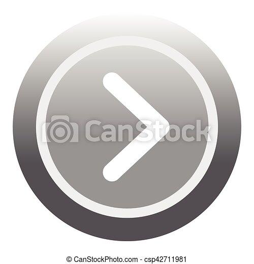 Gray round button icon, flat style - csp42711981
