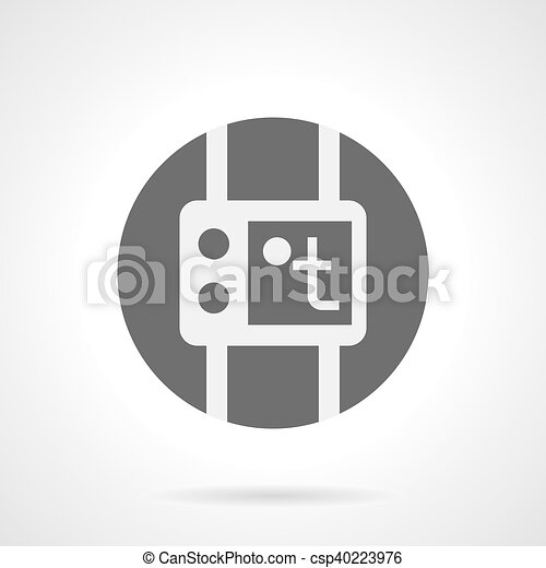 gray round flat vector icon for thermostat abstract white