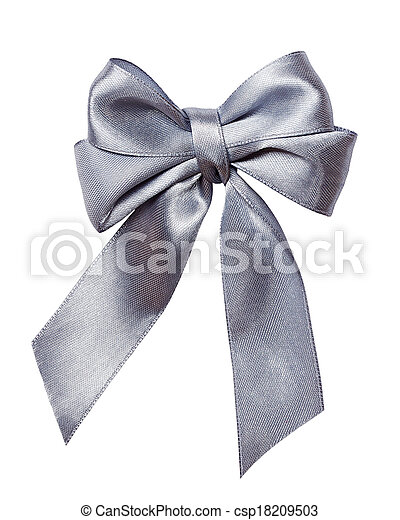 gray, silver bow, ribbon isolated on white - csp18209503