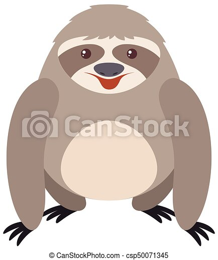 Gray sloth with happy face - csp50071345
