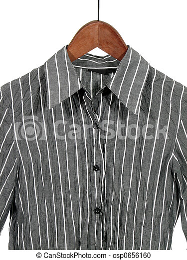 Gray striped shirt on wooden hanger - csp0656160