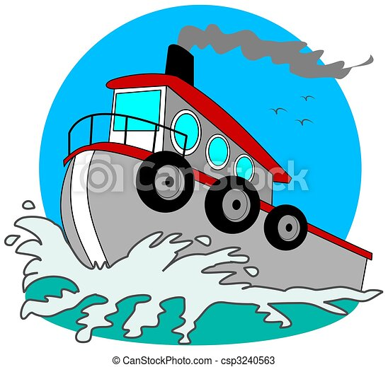 gray tugboat this illustration depicts a gray tugboat plowing rh canstockphoto com Small Tugboat Tugboat SVG