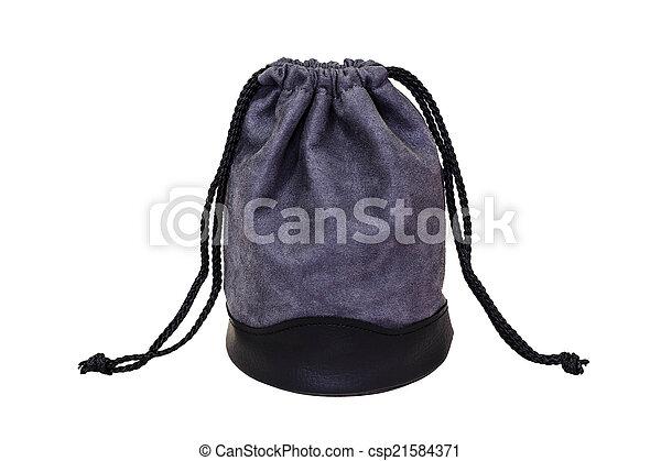 gray velvet bag isolated on white background - csp21584371