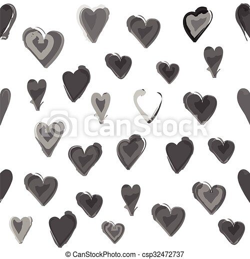 Gray water painted heart seamless pattern. White isolated vector background, wall paper. - csp32472737