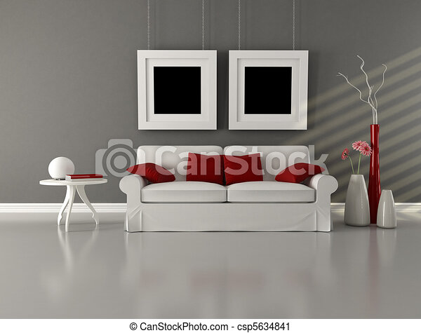 gray white and red minimalist living room - csp5634841